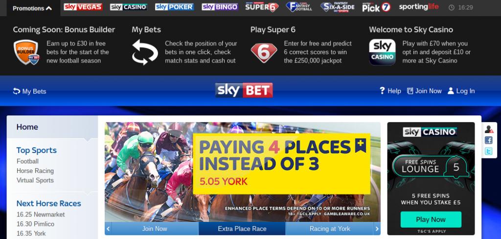 Sky Bet website