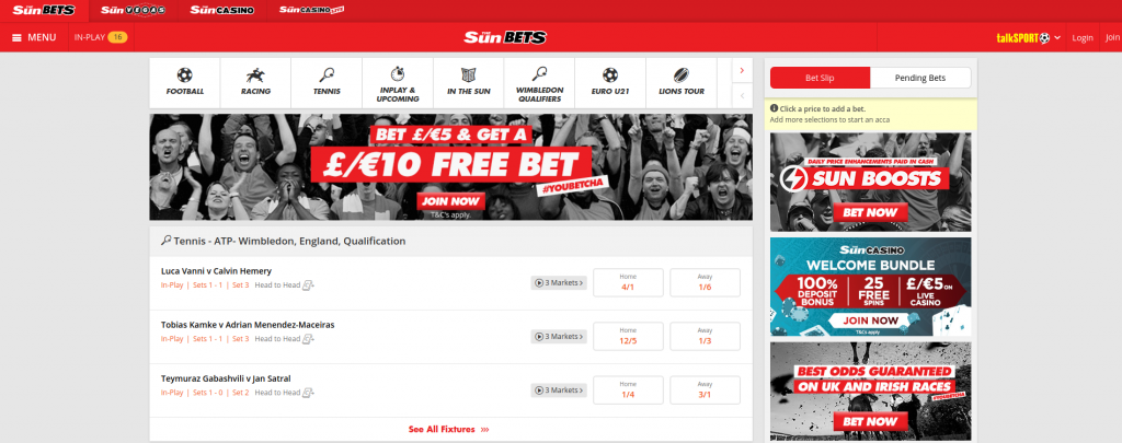 Sun Bets website