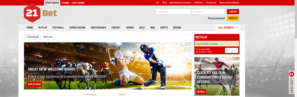 21Bet website