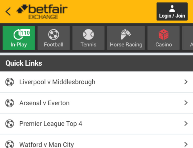 Betfair Exchange Mobile Betting