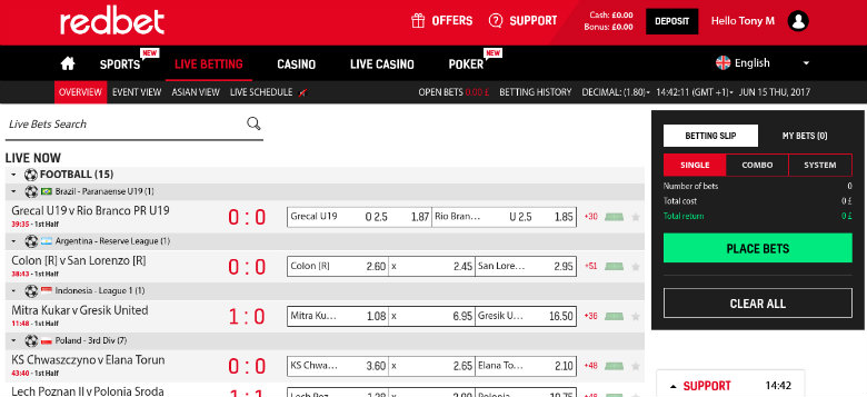 Redbet Live Betting