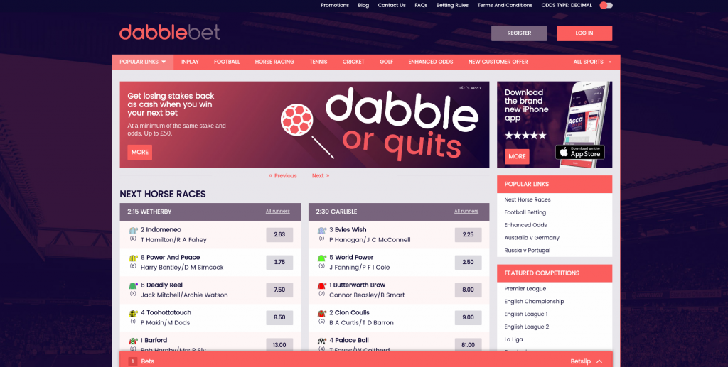 Dabblebet Website