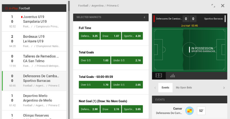 Unibet In-Play Betting