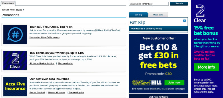 William Hill Betting Offers