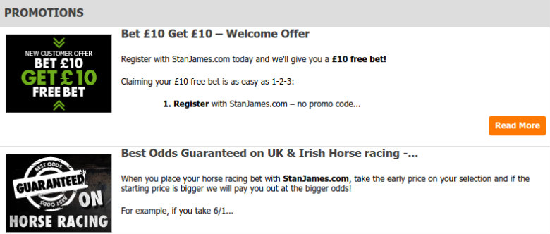 Stan James Betting Offers