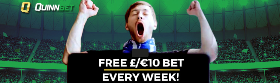 QuinnBet £10 Free Bet Every Week